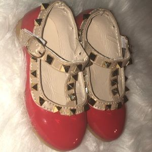 Brand New Baby Girl Red Leather shoes with spikes.